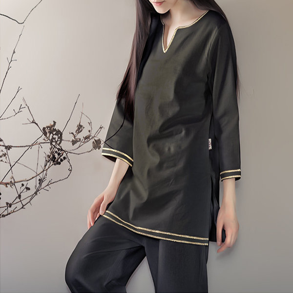 Women Fitness Yoga Suits Sports Fitness Cotton Linen Yoga Meditation Clothes Printing National Style - 8