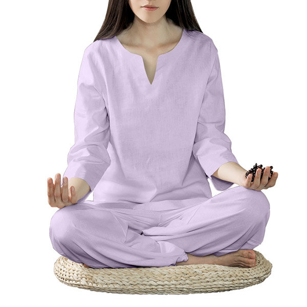 Women Fitness Yoga Suits Sports Fitness Cotton Linen Yoga Meditation Clothes Printing National Style - 1