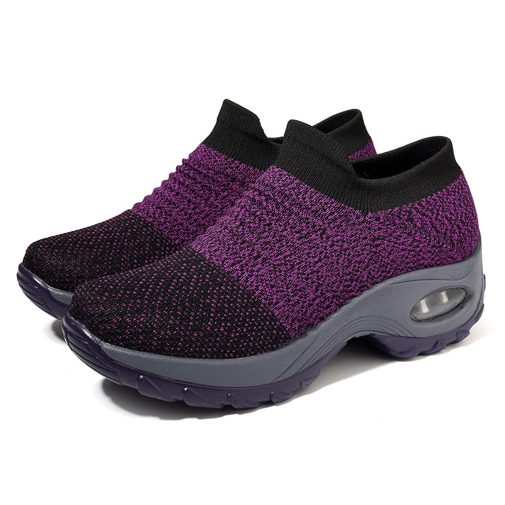Women Lightweight Comfy Breathable Mesh Slip On Flat Sneakers - 5