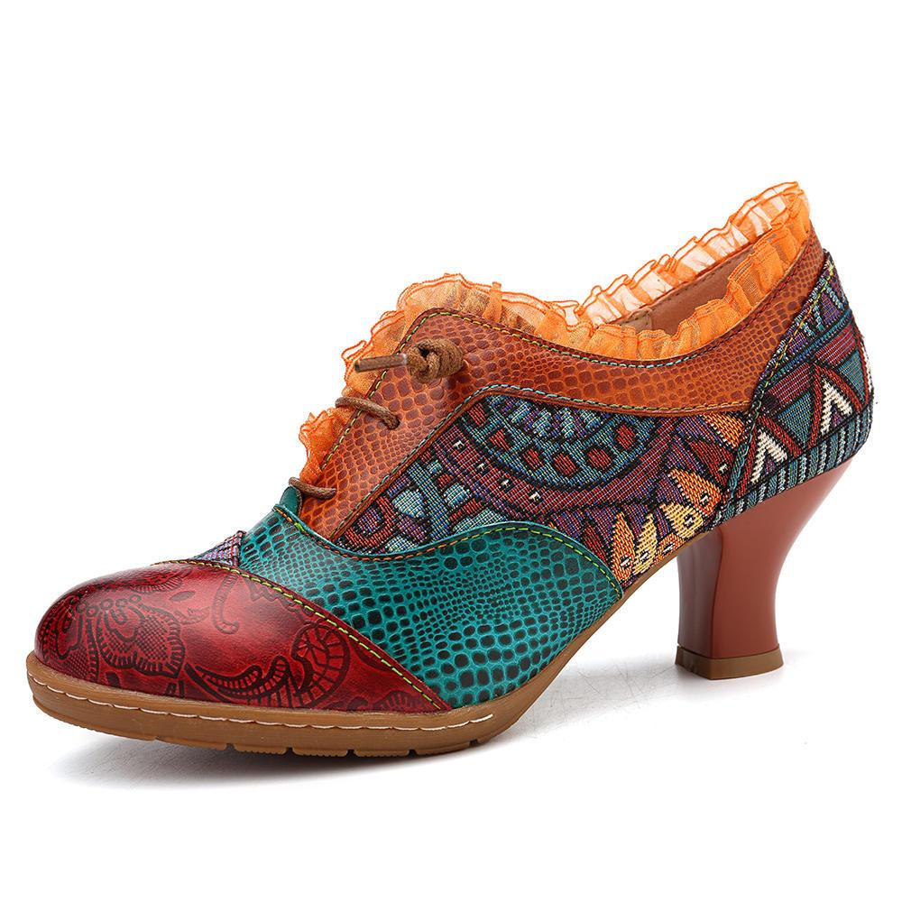 SOCOFY Retro Mid Heel Shoe Splicing Genuine Leather Pumps