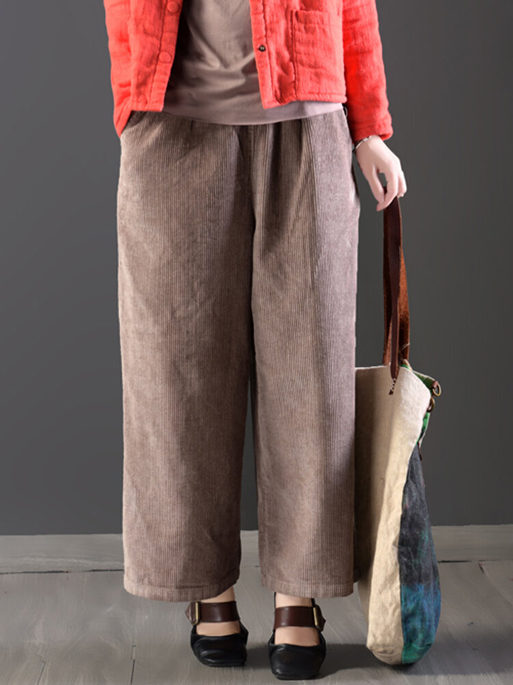 the latest lowest discount moderate cost Casual Loose Women Pure Color Elastic Waist Thick Corduroy Pants