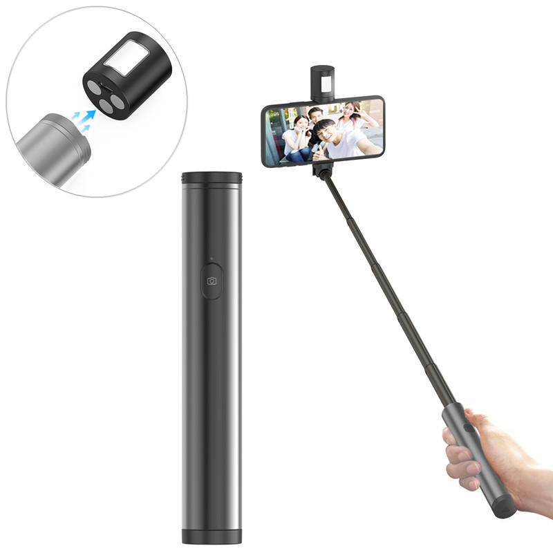Bakeey Selfie Stick with Magnetic Fill LED Light Extendable Handheld Shutter Holder For Mobile Phone