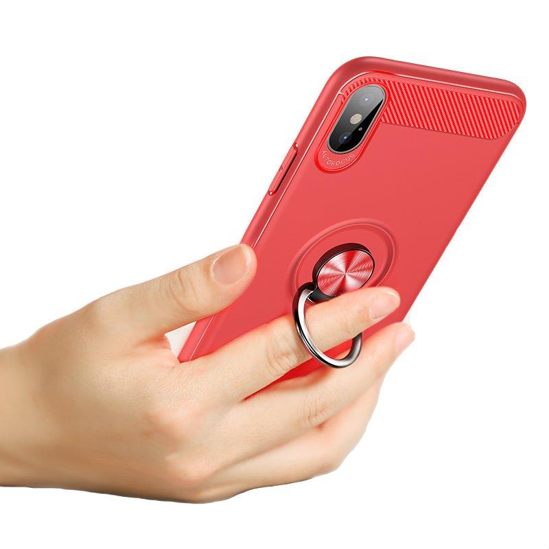 Bakeey 360º Rotating Ring Grip Kicktand Protective Case For iPhone X Soft TPU Carbon Fiber Texture