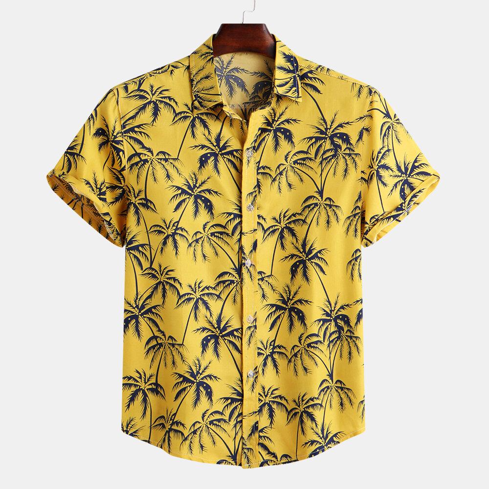 Mens Palm Tree Blom Printed Summer Vacation Kortärmad Mode Hawaiian Skjortor