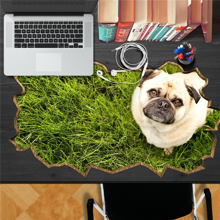 Dog Pet Lawn PAG STICKER 3D Desk Sticker Wall Decals Home Wall Desk Table Decor Gift  - buy with discount