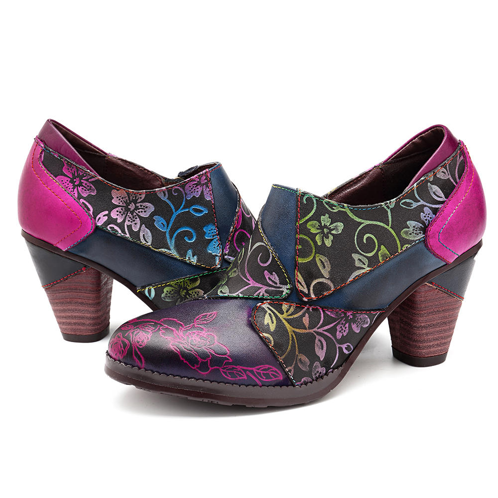 SOCOFY Handmade Printing Pattern Leather Zipper Chunky Heel Pumps - 7