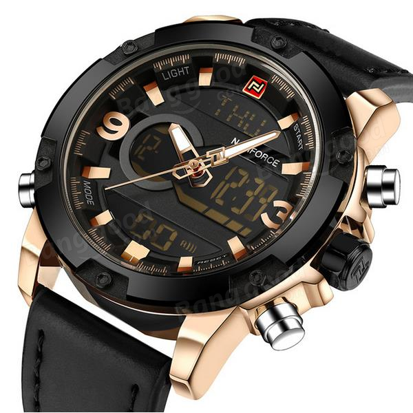 3d8c8a777 NAVIFORCE NF9097 Fashion Men Dual Display Watch Luxury Leather Strap Sport  Watch - NO.5 COD