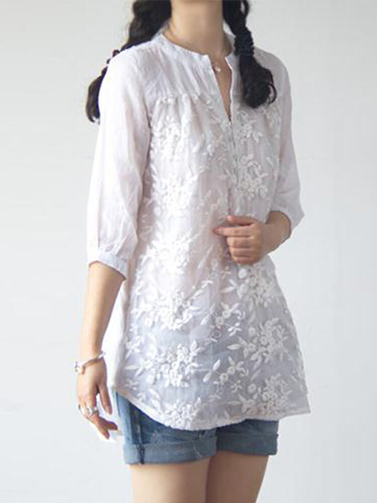 Women Retro Long Sleeve V Neck Floral Embroidery Blouse - 3