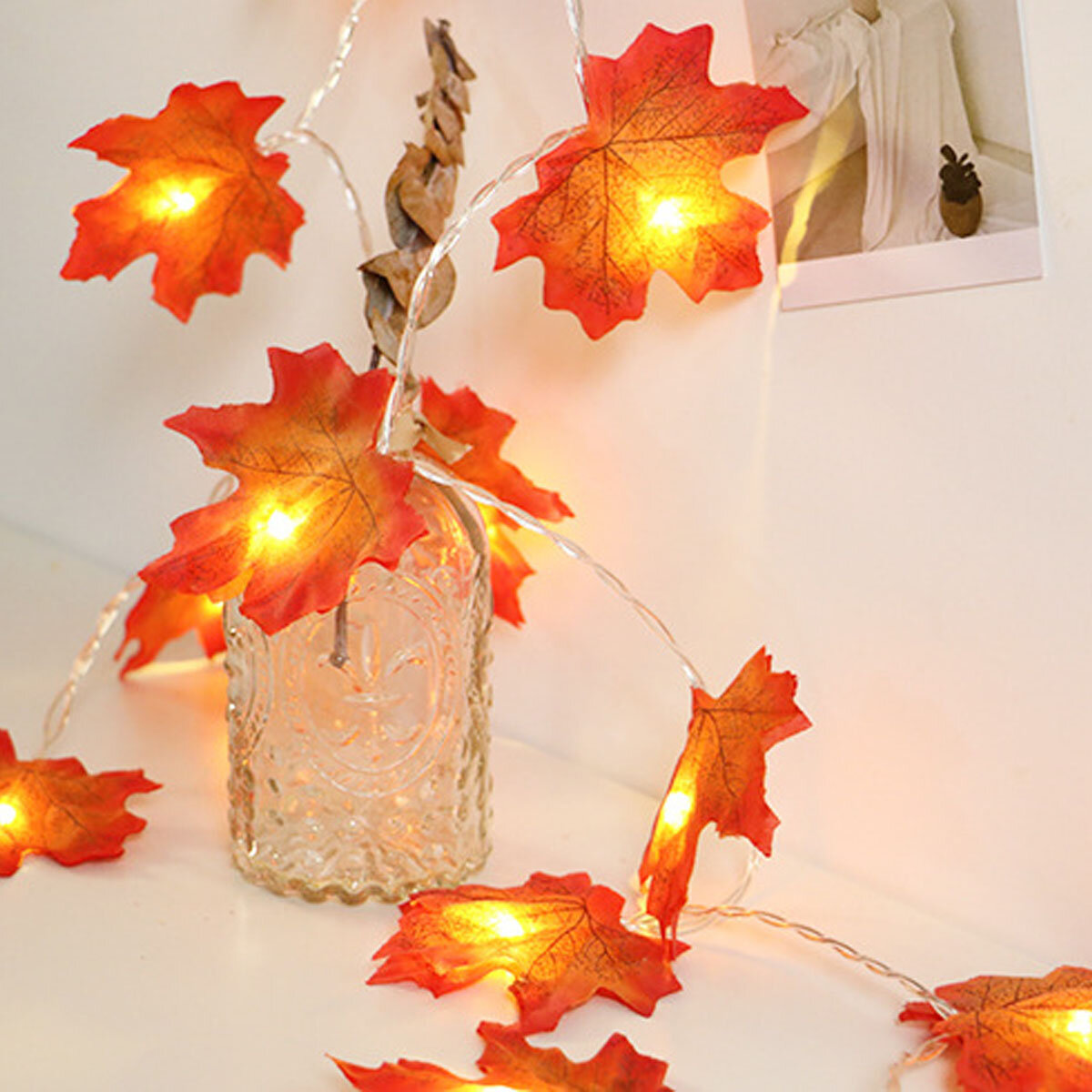 3M/6M 20/30/40LED Maple Leaf String Light Battery Powered Warm White Indoor Party Fairy Lamp Decoration
