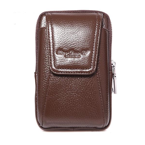 Men Genuine Leather Belt Loop Phone Pouch Holster Retro Cell Case Waist Bag