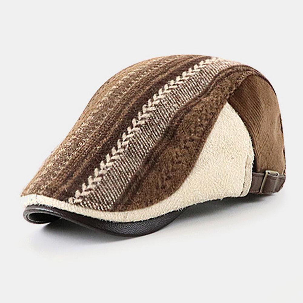 Men Felt British Style Retro Stripe Pattern Casual Keep Warm Forward Hat Beret Hat
