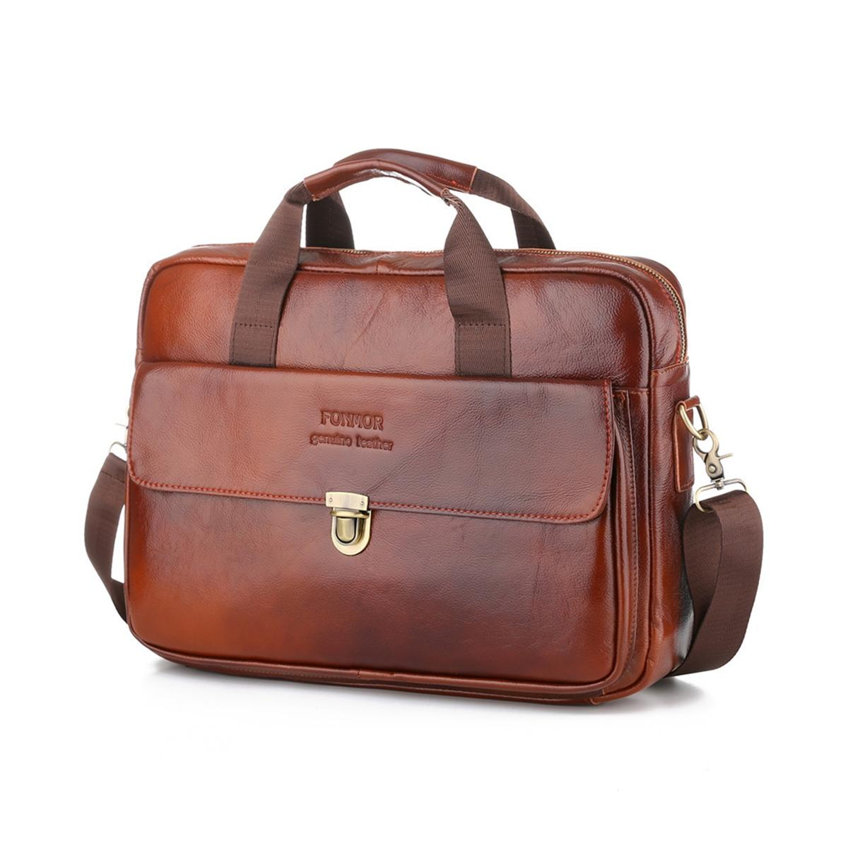 US Men/'s Business Leather Briefcase Handbag Shoulder Messenger Tote Laptop Bag