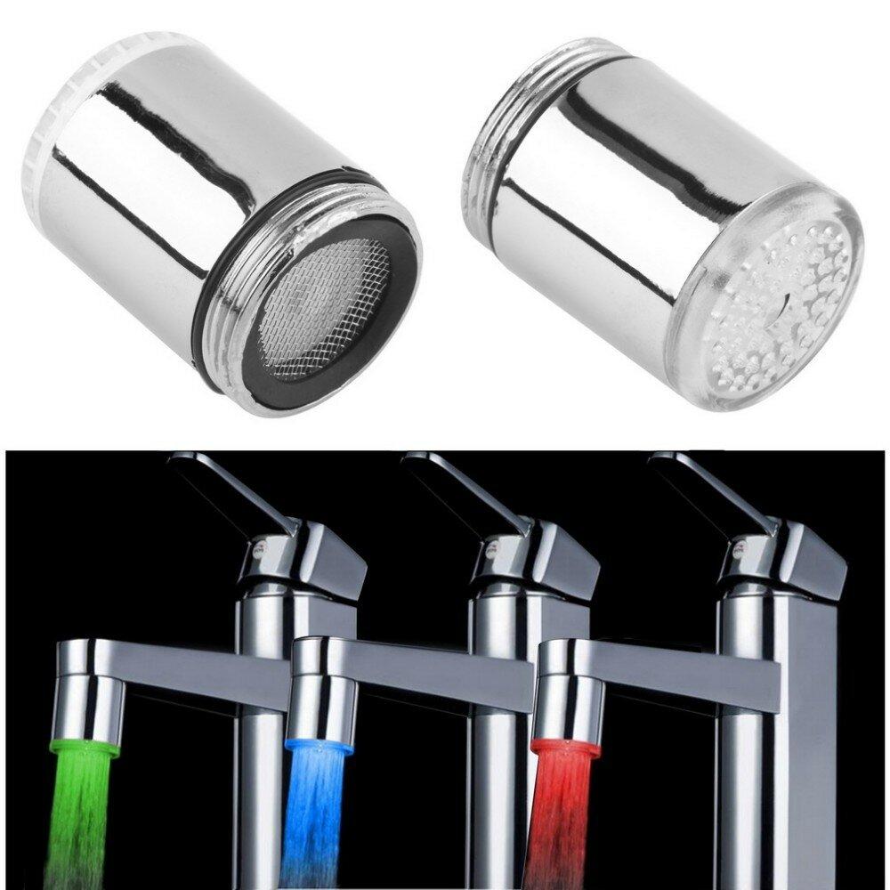 LED Light Water Tap Temperature Sensor RGB Glow Shower Stream Shower Head Faucet