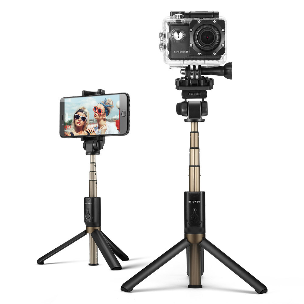 BlitzWolf BW-BS3 Olahraga Serbaguna 3 in 1 Bluetooth Tripod Selfie Sticks untuk Sport Camera Phone