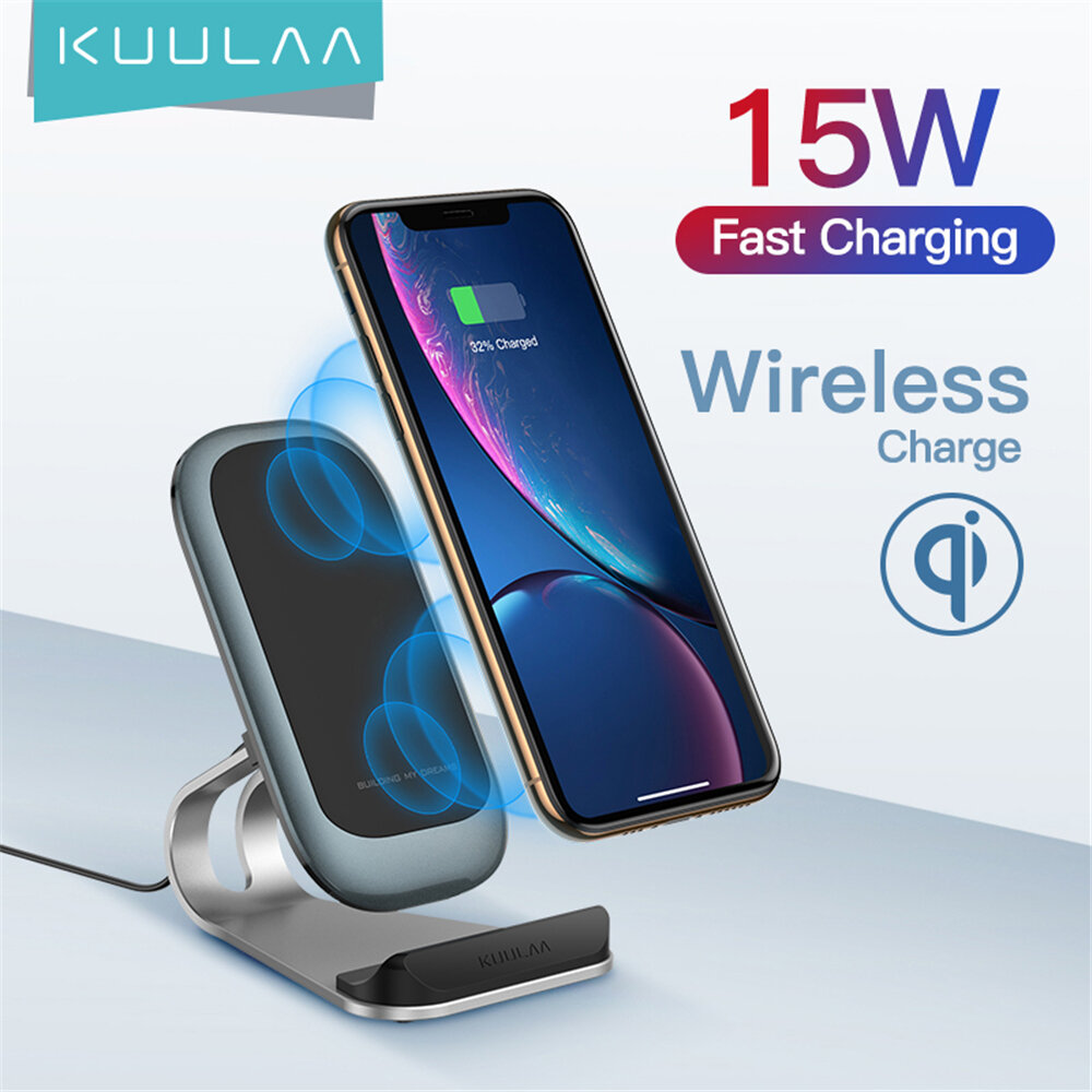 KUULAA 15W Fast Charing Qi Wireless Charger Dock Station Phone Holder For iPhone 12 Pro Max Mini Huawei P30 Pro Mate 30
