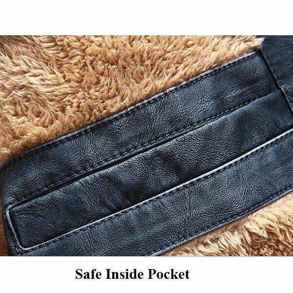 Mens Faux Leather Jacket Fleece Lining Warm Shearling Coat - 6