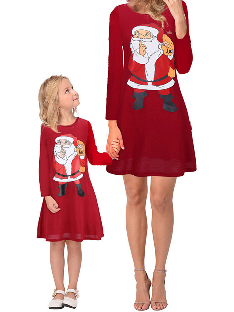 Family Mother Daughter Parent-child Christmas Printed Long Sleeve Women Dress