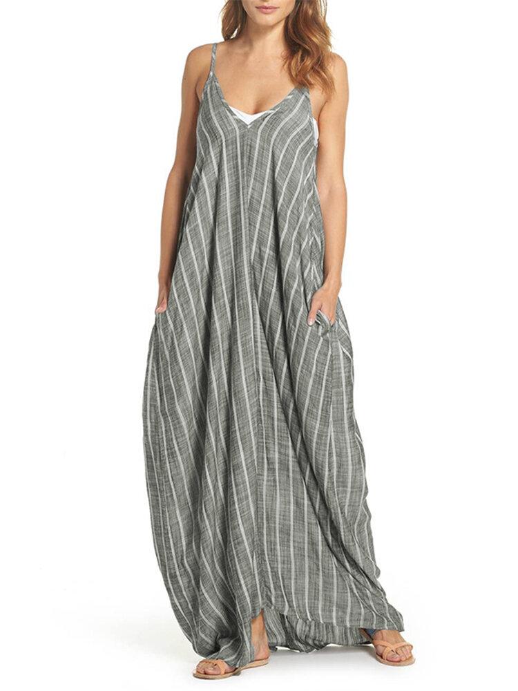 S-5XL Women Strap Sleeveless Loose Stripe Long Maxi Dress