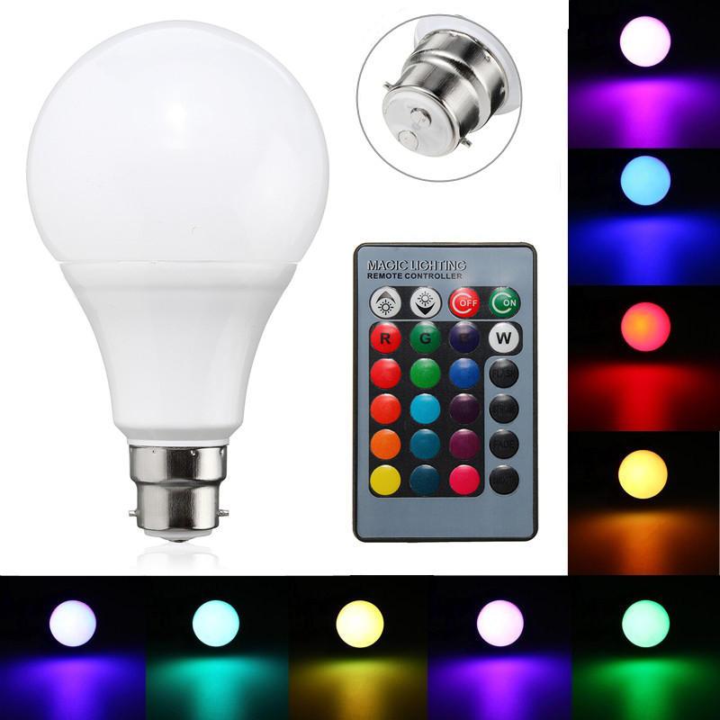 B22 10w dimmable rgb cambio de color LED lámpara de la lámpara de control remoto ac85-265v