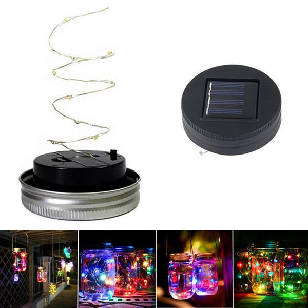 Solar Powered 1M 10LEDs Black Cover Mason Jar Lid Insert Light Fairy String Wire Lamp Garden Decor