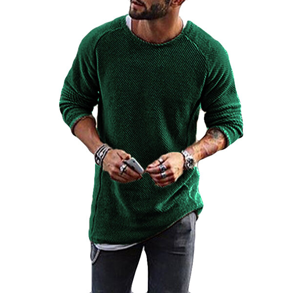 Fashion Men's Knitting Solid Color O Neck T shirt Long Sleeved Regular Fit Casual T shirts - 4