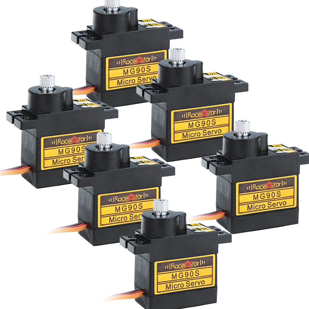 6PCS Racerstar MG90S 9g Micro Metal Gear Analog Servo For 450 RC Helicopter RC Car Boat Robot