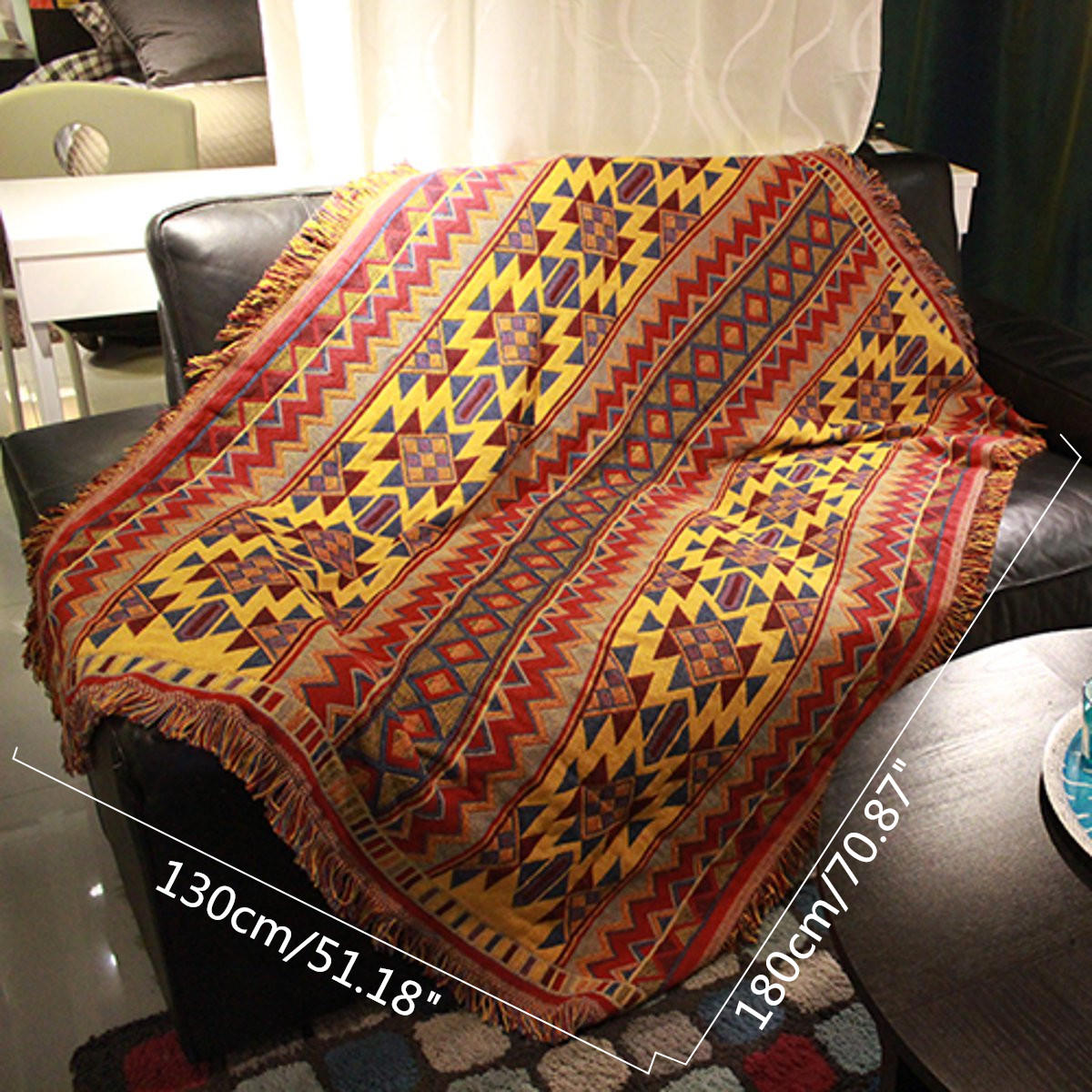 Cotton Knitted Blankets Throw Tribal Bohemian Ethnic Sofa Bedding Home Decor - 9