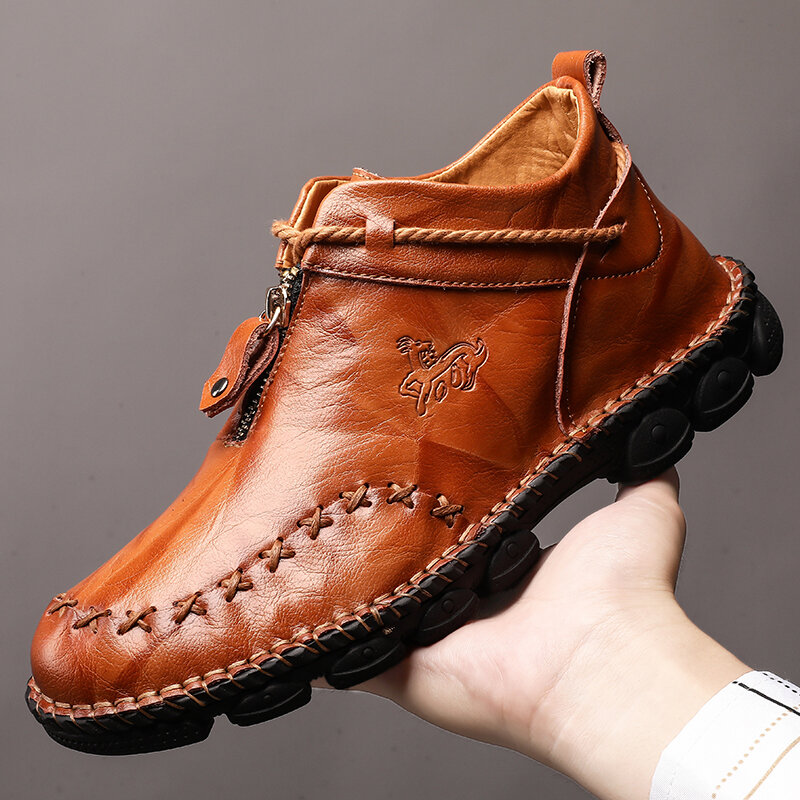 Menico Men Hand Stitching Non Slip Metal Buckle Casual Leather Boots - 1