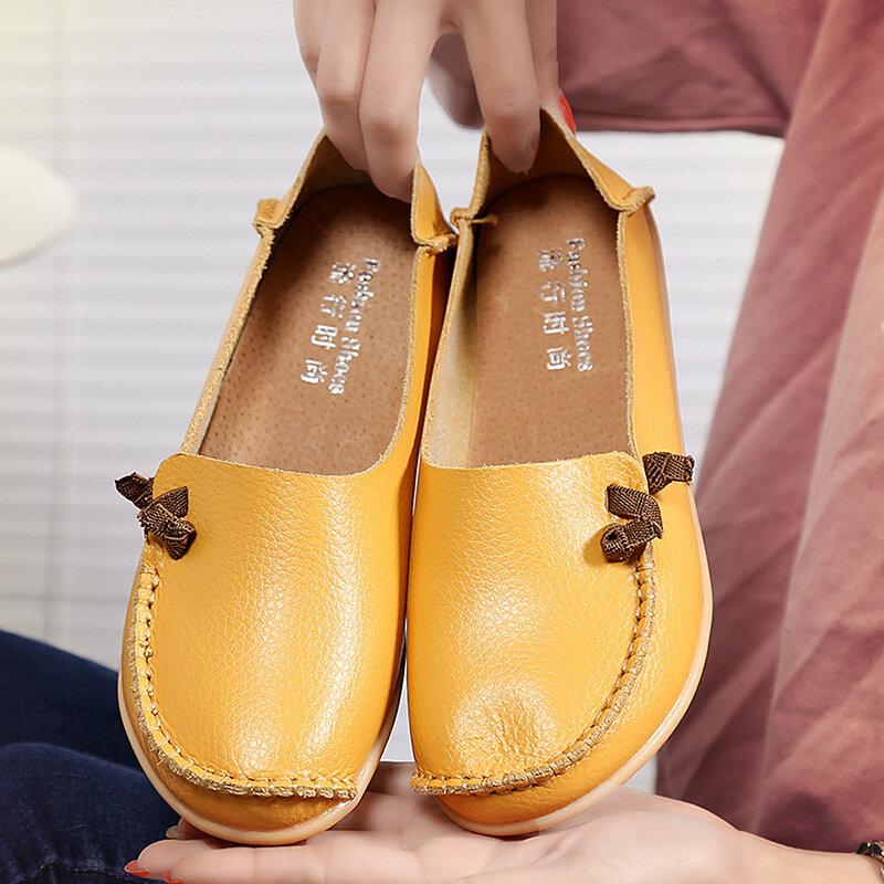 Women Casual Solid Color Round Toe Lace Up Loafers - 1