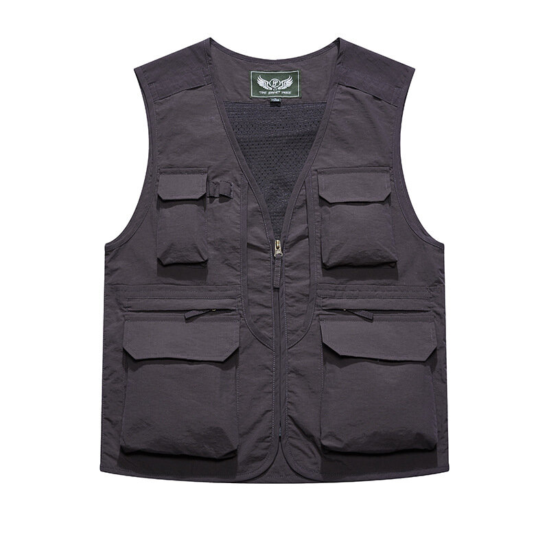 Winter Thick Warm Sleeveless Dad Vest Stand Collar Zipper Pure Color Jacket - 3