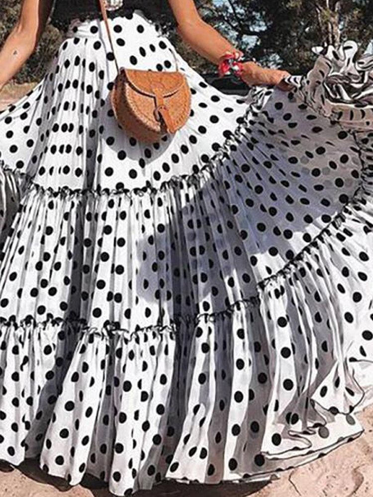 Mulheres Verão Praia Férias Big Swing Polka Dot Maxi Saias