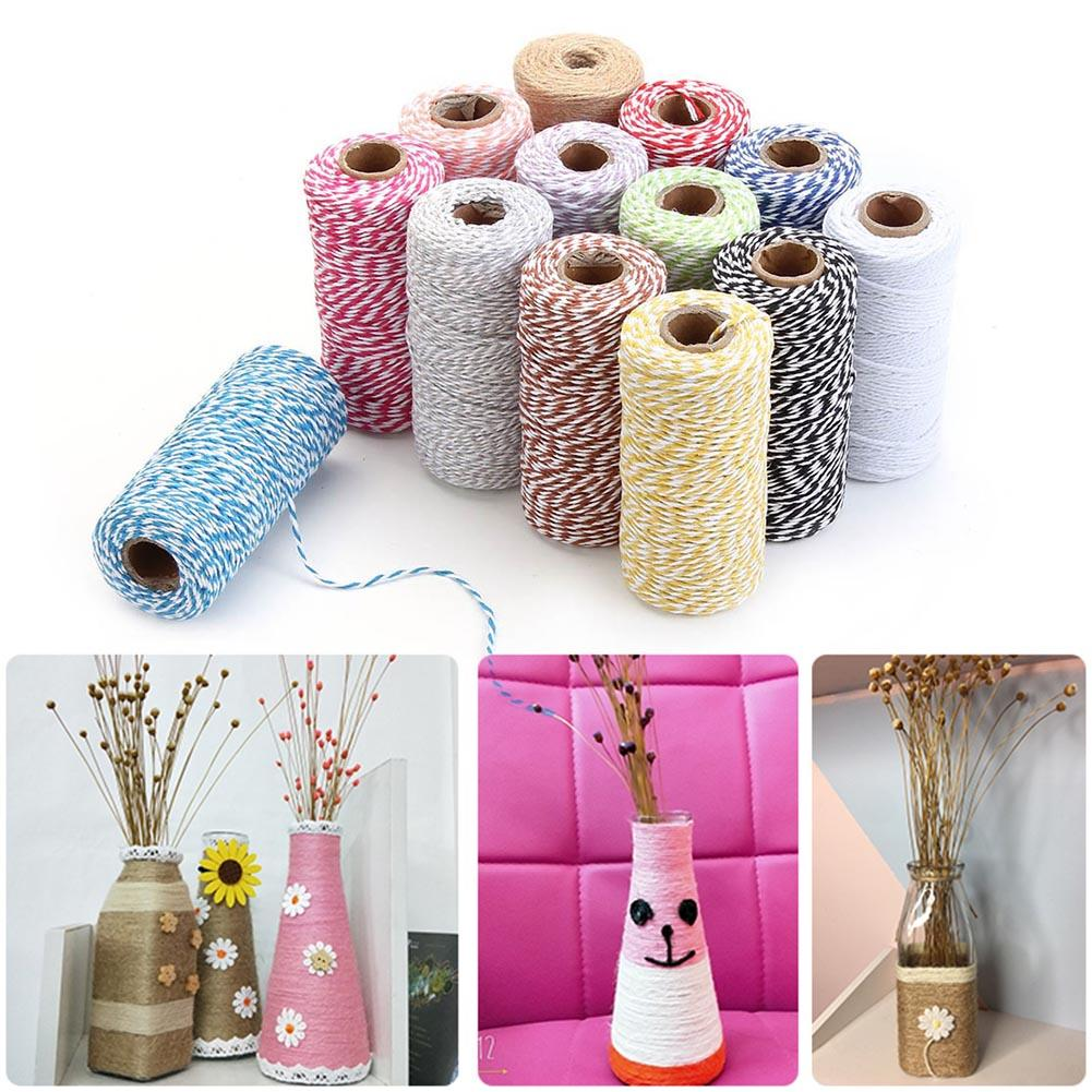 2mm 100m Two-Tone Cotton Rope DIY Handcraft Materials Cotton Twisted Rope Gift Decor Rope Brush фото