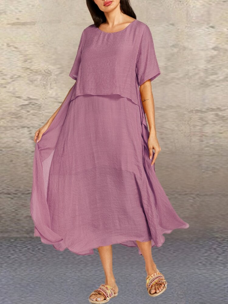 Solid Color O-neck Layered Short Sleeve Casual Dress