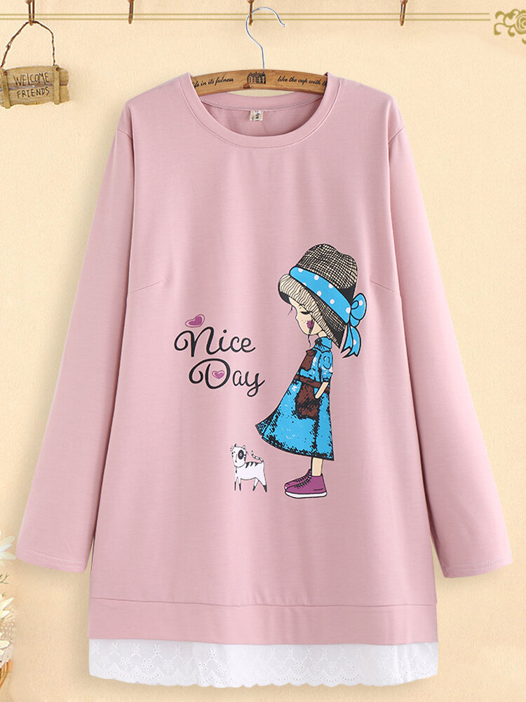 Embroidery Patchwork Cartoon Print Casual Long Sleeve T-shirts