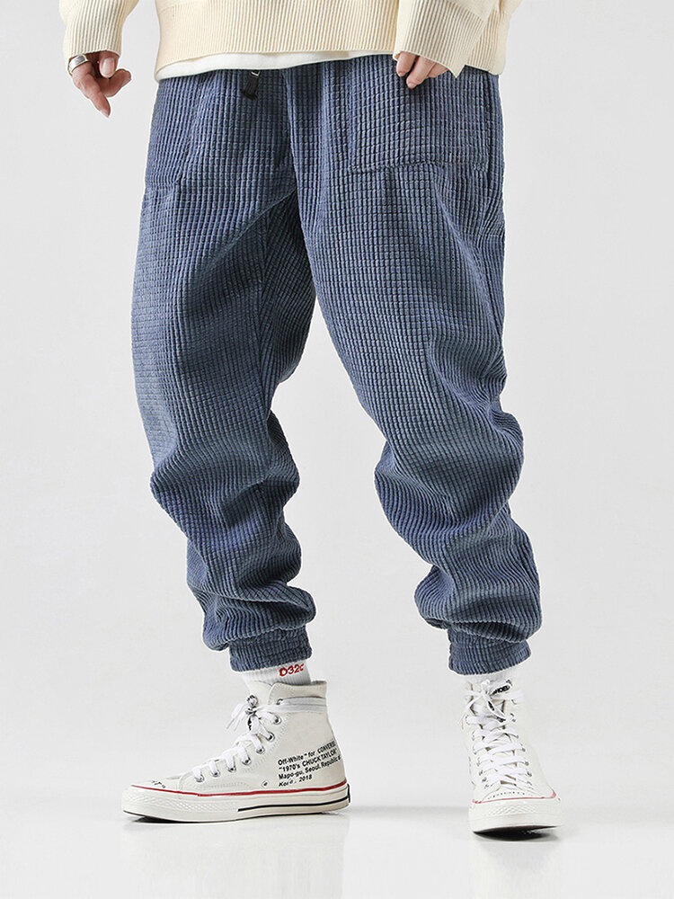 Mens Vintage Casual Baggy Solid Color Drawstring Chinese Style Loose Pants - 1