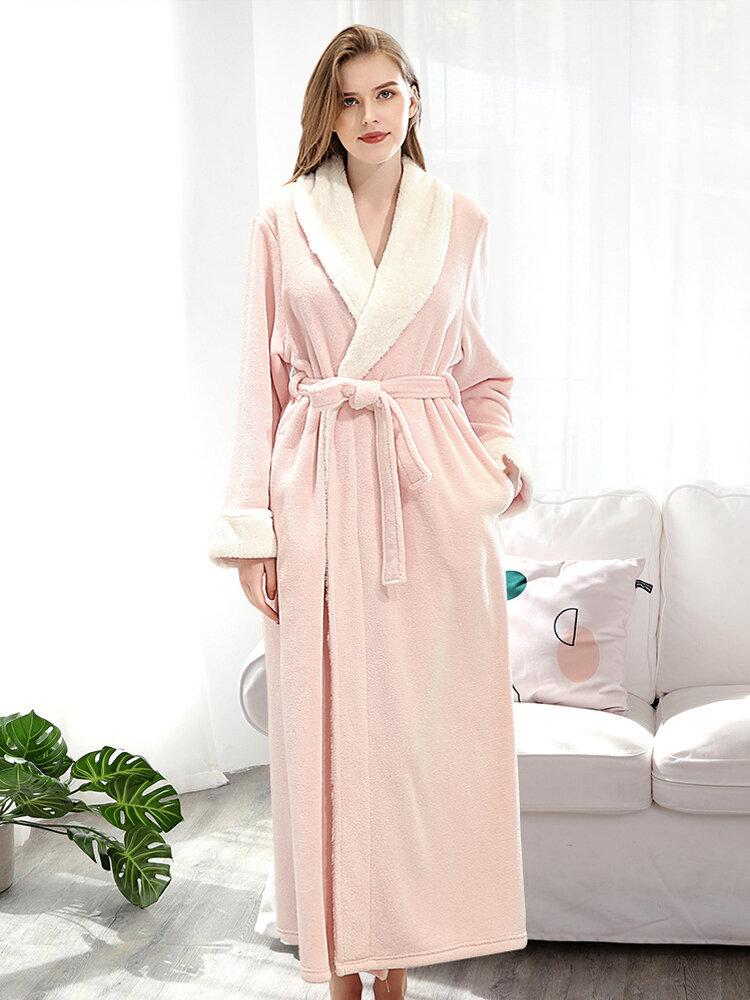 Plus Size Long Sleeve Flannel Longline Bathrobe Nightgown