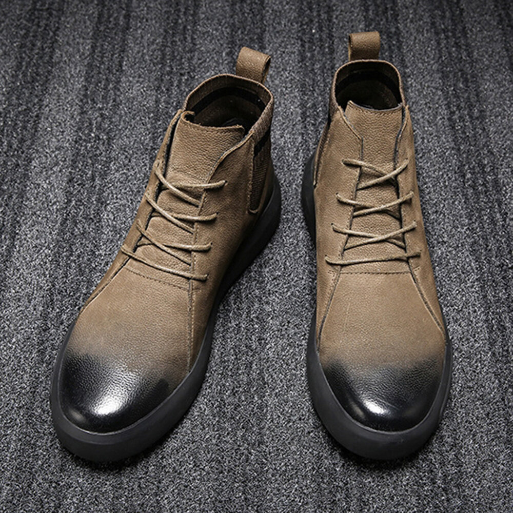 Synthetic Leather Warm Slip Resistant Ankle Boots - 1