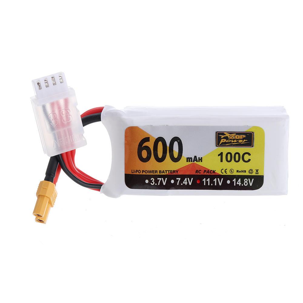 ZOP Power 11.1V 600mAh 100C 3S Lipo Batterie XT30 Fiche pour Eachine Lizard95 FPV Racer - 1