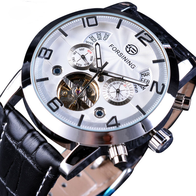 Forsining GMT1091 Light Luxury 3ATM Waterproof Luminous Display Fashion Men Mechanical Watch - 3