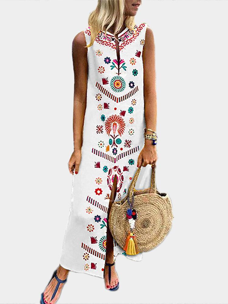 Phụ nữ in V cổ mùa hè Váy hoa boho