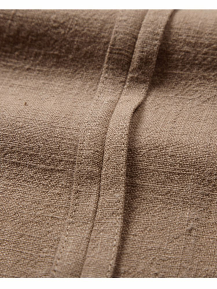 Banggood Designed Mens Corduroy Patchwork Loose Pocket Elastic Waist Breathable Shirt & Shorts - 5