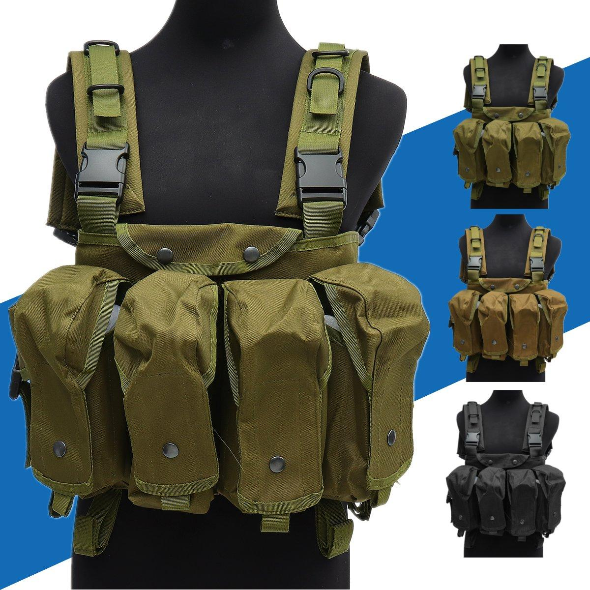 Chaleco táctico unisex al aire libre Combat Game Training Storage Carrier Belly Pocket Vest - 1