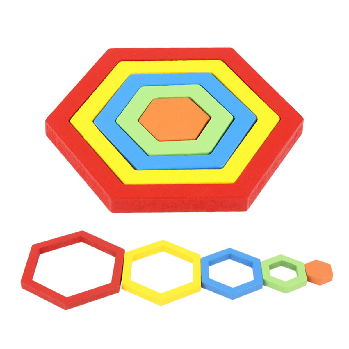 Shape Cognition Board Geometry Jigsaw Puzzle Wooden Kids Educational Learning Toys - 4