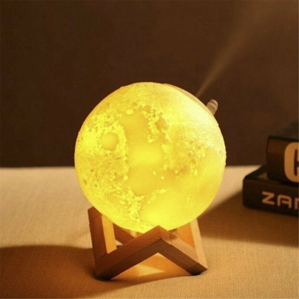 880ML 3D LED Night Light Air Humidifier Moon Lamp Aroma Essential Oil Diffuser - 6