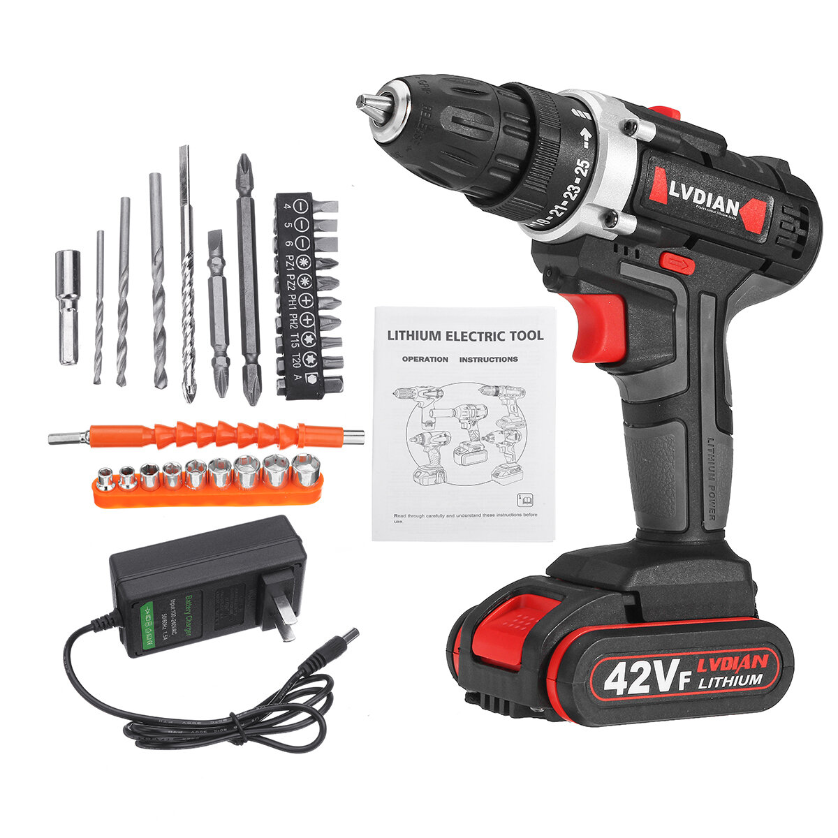 42VF Li-Ion Battery Cordless Rechargeable Electric Impact Drill Driver Screwdriver LED Light - 2