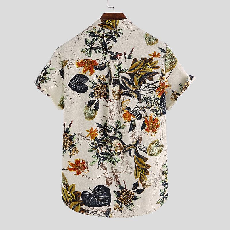 Mens Hawaiian Short Sleeve Summer Floral Printed Beach Shirt - 3