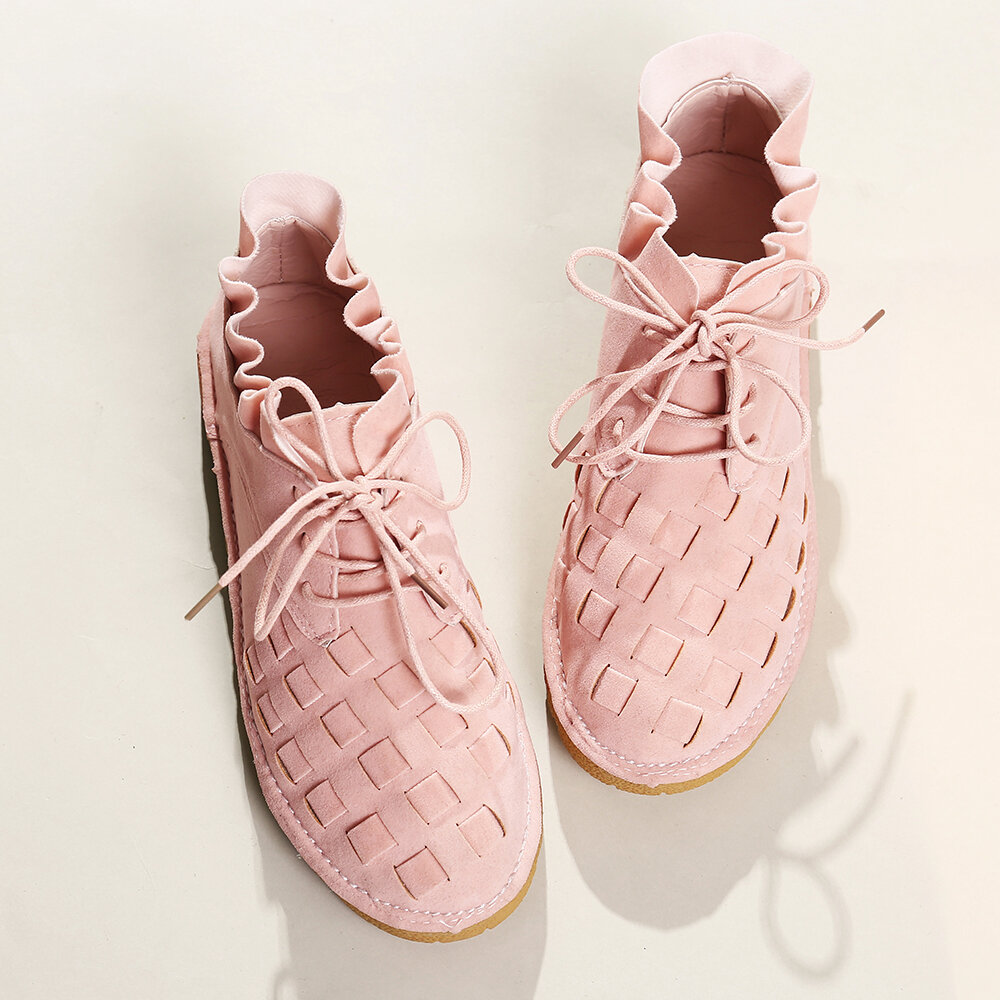 Women Casual Solid Color Round Toe Lace Up Loafers - 8
