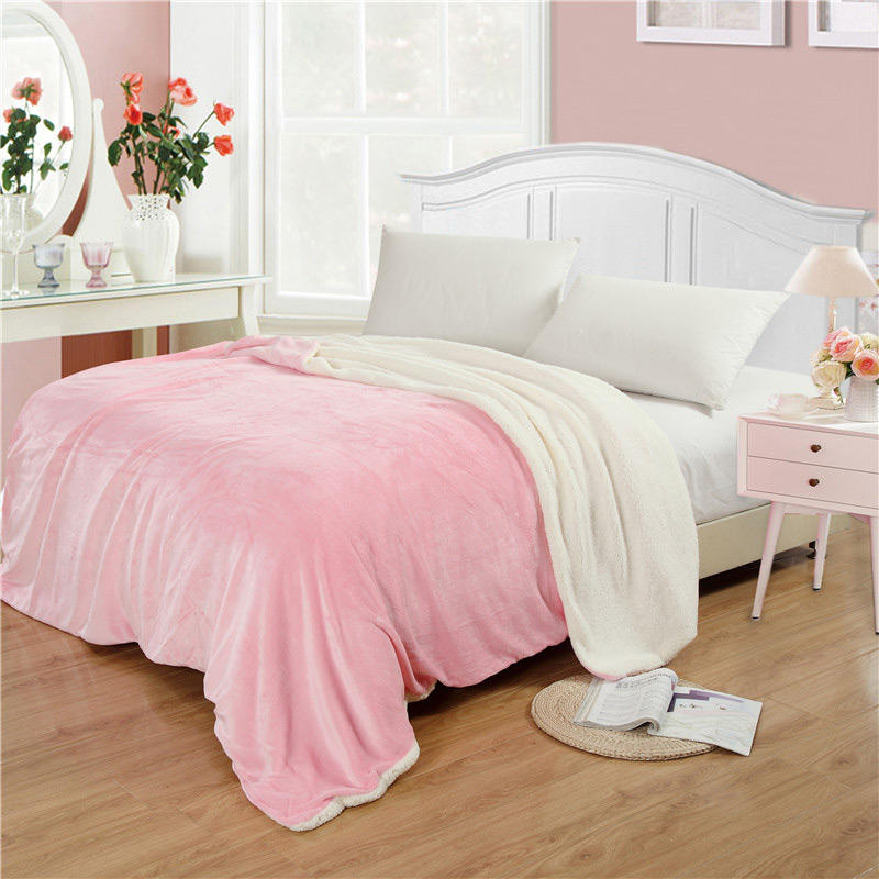 Soft Warm Plush Lamb Fleece Blankets Throw Rug Coral Flannel Throws Napping Blankets Bedding - 1