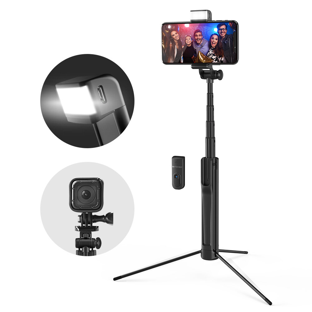 Blitzwolf BW BS8 Extendable bluetooth Tripod Selfie Stick With LED Fill Light For Phone Sport Camera - 1