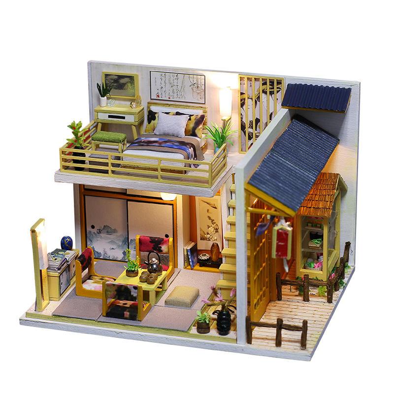 iiecreate J-002 Japanese Plain Room Handmade DIY Cabin Doll House With Dust Cover Music Motor